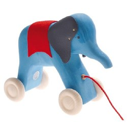 Grimm's - Wooden Pull Along Elephant Blue