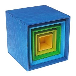 Grimm's - Authentic Small Stacking Boxes - Blue