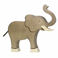 Holztiger - Wooden Animal - Trunk Raised Elephant