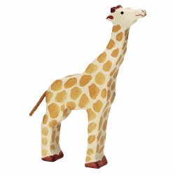 Holztiger - Wooden Animal - Head Raised Giraffe