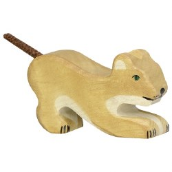 Holztiger - Wooden Animal - Small Lion Playing