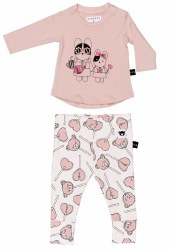 Huxbaby - Hey Sister Long Sleeve Set - Pink 6-12