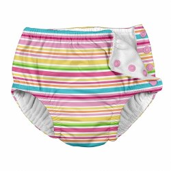 I Play -  Snap Reusable Swim Diaper - Pink Stripes 6M