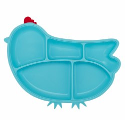 Inno Baby - Silicone Suction Divided Chicken Plate - Blue