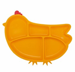 Inno Baby - Silicone Suction Divided Chicken Plate - Yellow