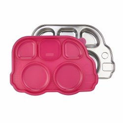 Inno Baby - Stainless Divided Platter Pink