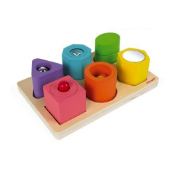 Janod -  I Wood Shapes & Sounds 6-Block Puzzle