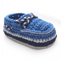 N L - Crochet Deck Shoes Bootie - Blue