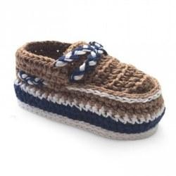 N L - Crochet Deck Shoes Bootie - Brown
