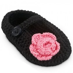 N L - Crochet Flower Slipper - Black/Pink