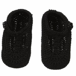 N L - Crochet T- Strap Mary Jane - Black