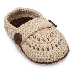 N L - Crochet Baby Mocs - Khaki