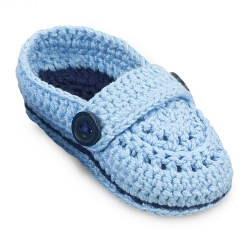 N L - Crochet Baby Mocs - Light Blue