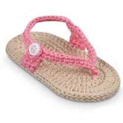 N L - Crochet Sandals - Khaki/Pink