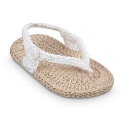 N L - Crochet Sandals - Khaki/White