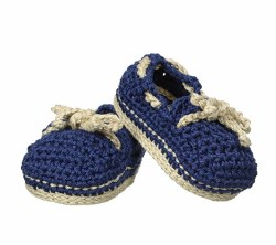 N L - Crochet Booties - Navy