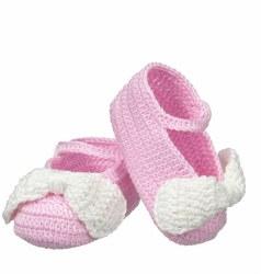 N L - Crochet Bow Slipper - Pink/White