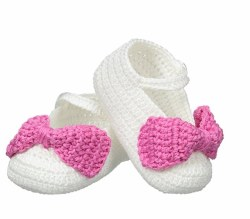 N L - Crochet Bow Slipper - White/Pink