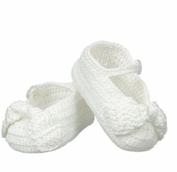 N L - Crochet Bow Slipper - White/White