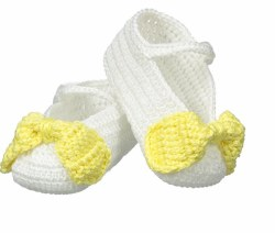N L - Crochet Bow Slipper - White/Yellow