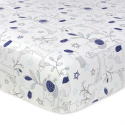 Just Born -  Crib Sheet - Woodland Navy