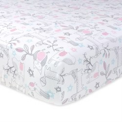 Just Born -  Crib Sheet - Woodland Pink