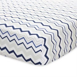 Just Born -  Crib Sheet - Chevron Navy
