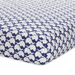Just Born -  Crib Sheet - Elephant Navy