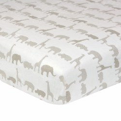 Just Born -  Woven Crib Sheet -  Antique Safari