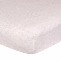 Just Born -  Woven Crib Sheet -  Pink Spirals