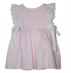 N L - Piqe Dress with Bows Pink 6M