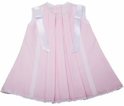 N L - Pique Dress with Lace Bow Pink/White 6M