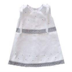 N L - Pique Dress White/Grey 6M