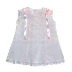N L - Pique Dress White/Pink 6M