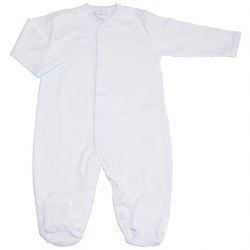 Kissy Kissy - Basic Footie New White and Blue 6-9