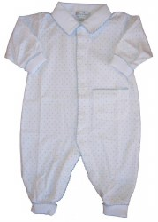 Kissy Kissy - Dots Print Playsuit with Collar White with Light Blue  0-3