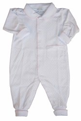 Kissy Kissy - Dots Print Playsuit with Collar White with Pink 0-3