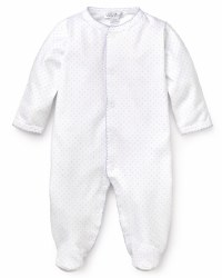 Kissy Kissy - Dots Print Footie White with Light Blue NB