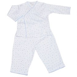 Kissy Kissy - Hearts & Stars Pant Set with Long Sleeve Cross Tee Blue 3-6