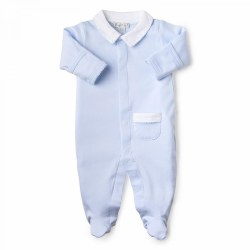 Kissy Kissy - New Beginnings Footie with Collar Light Blue NB