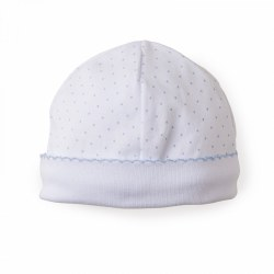 Kissy Kissy - Dots Print Hat White with Light Blue NB