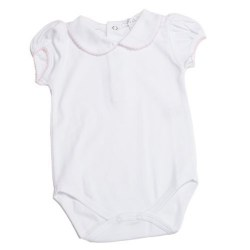 Kissy Kissy - Basic Short Sleeve Body with Collar  White with Pink Trim NB