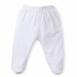 Kissy Kissy - Signature Footed Pant White with Light Blue 0-3