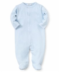 Kissy Kissy - Dots Print Footie Light Blue with White NB