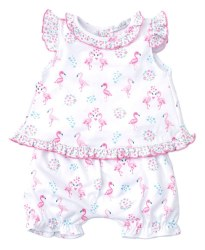 Kissy Kissy - Print Sunsuit Set Flowering Flamingos - Pink 0-3M