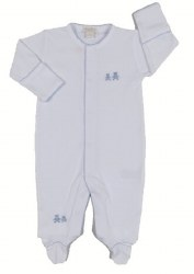 Kissy Kissy - Embroidered Premier Classic  Bears Footie - Blue 0-3