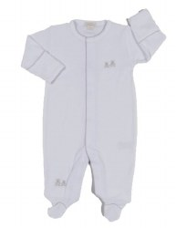 Kissy Kissy - Embroidered Premier Classic  Bears Footie - Silver NB