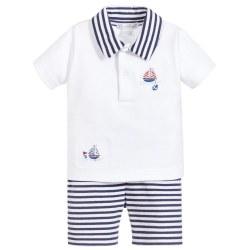 Kissy Kissy - Skysail Stripe Bermuda Set - White/Navy 0-3