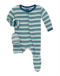 Kickee Pants - Bamboo Print Footie with Snaps - Boy Perth Stripe 6-9