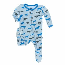 Kickee Pants - Bamboo Print Footie with Snaps - Pond Running Labs 9-12